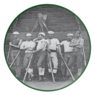 Vintage Black and White Rowers Plate