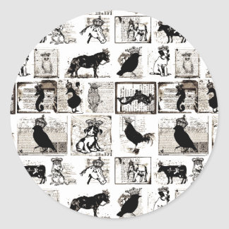 Vintage Black And White Royal Animals Classic Round Sticker