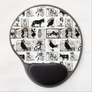Vintage Black And White Royal Animals Gel Mouse Mats