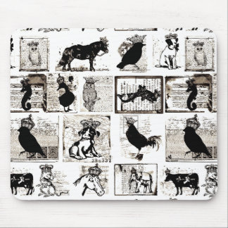 Vintage Black And White Royal Animals Mousepads
