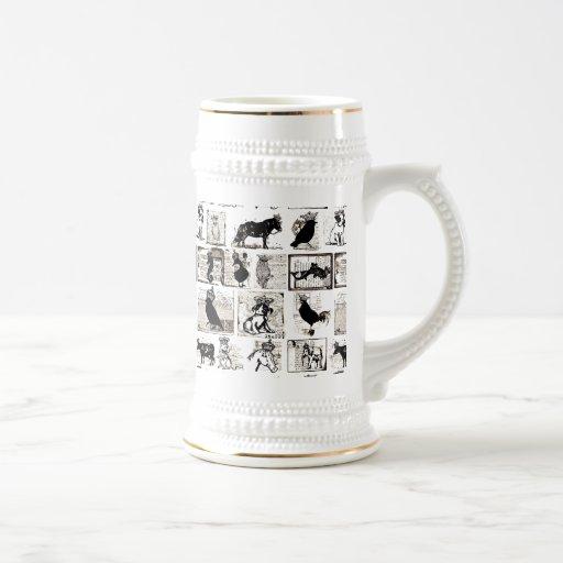 Vintage Black And White Royal Animals Coffee Mugs