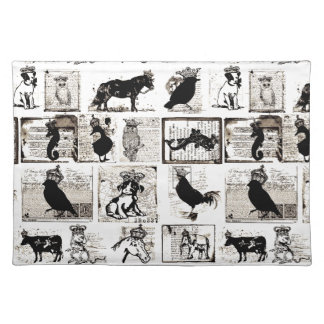 Vintage Black And White Royal Animals Placemat
