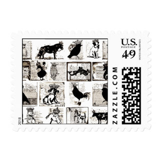 Vintage Black And White Royal Animals Postage