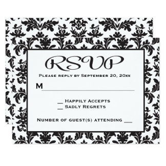 Vintage Black And White RSVP Damask Floral Card