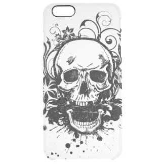 Vintage Black and White Sketch Skull Swirl Flowers Clear iPhone 6 Plus Case