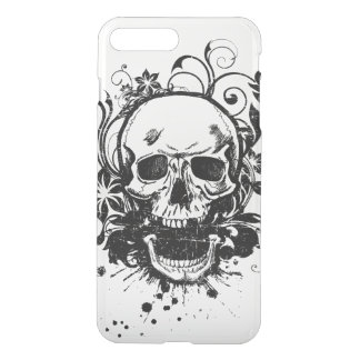 Vintage Black and White Sketch Skull Swirl Flowers iPhone 7 Plus Case