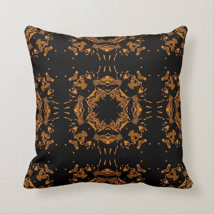 Vintage Black And Yellow Copper Floral Seamless Throw Pillow Zazzle Com