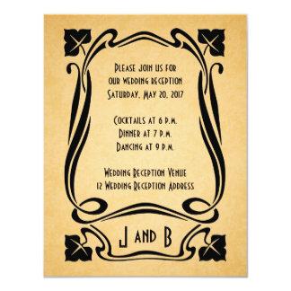 Vintage Black Art Deco Wedding Reception Cards