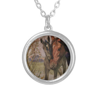 """Vintage Black Beauty horse """"My Mother and I"""" Silver Plated Necklace"""