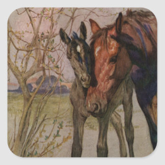 """Vintage Black Beauty horse """"My Mother and I"""" Square Sticker"""