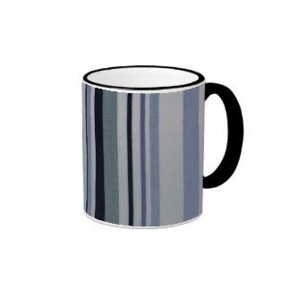 Vintage Black Blue Patterns Stripes Mug