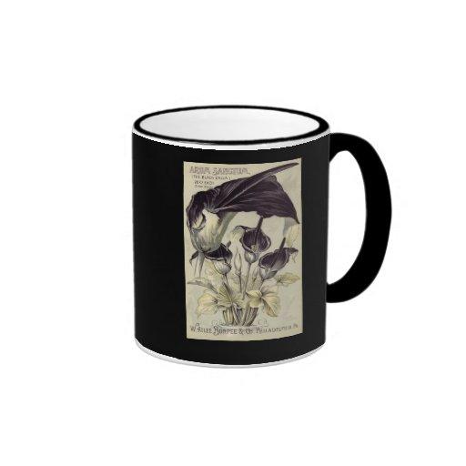 Vintage Black Calla Lilies Ringer Coffee Mug