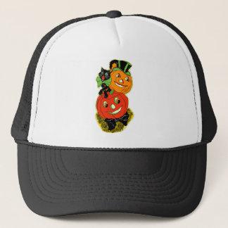 Vintage Black Cat and Jack o' Lanterns Trucker Hat