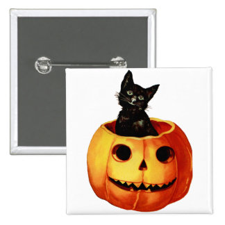 Vintage Black Cat and Pumpkin_002 Pin