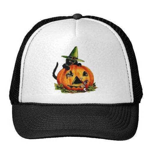 Vintage Black Cat and Pumpkin Hat