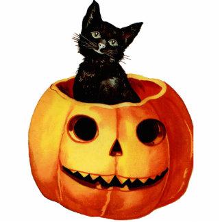 Vintage Black Cat and Pumpkin Magnet Sculpture