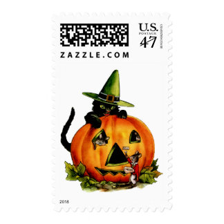Vintage Black Cat and Pumpkin Medium Postage
