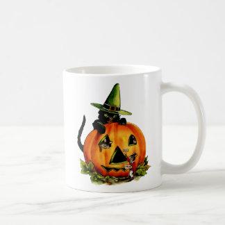 Vintage Black Cat and Pumpkin Mug