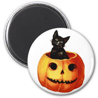 Vintage Black Cat and Pumpkin Round Magnet