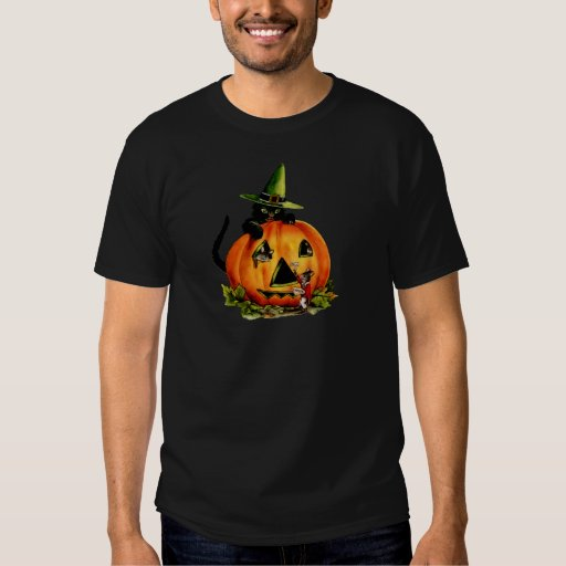 Vintage Black Cat and Pumpkin Shirt