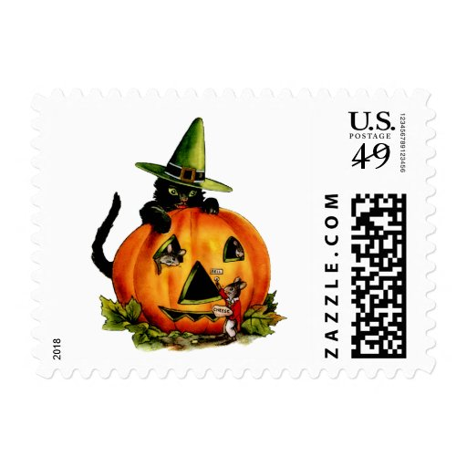 Vintage Black Cat and Pumpkin Small Postage