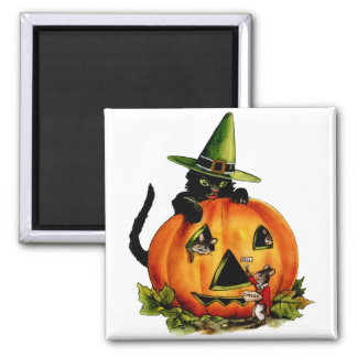 Vintage Black Cat and Pumpkin Square Magnet