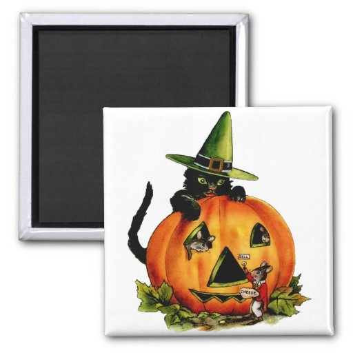 Vintage Black Cat and Pumpkin Square Magnet