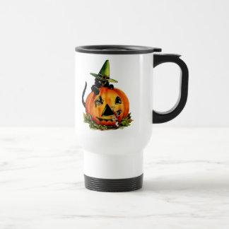 Vintage Black Cat and Pumpkin Travel Mug