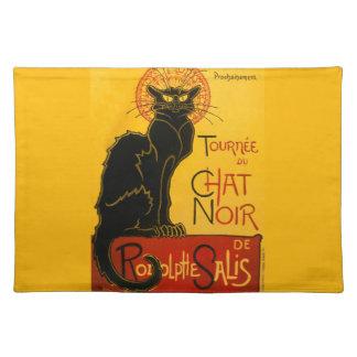 Vintage Black Cat Art Nouveau Chat Noir Steinlen Cloth Placemat