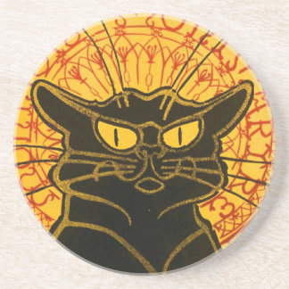 Vintage Black Cat Art Nouveau Chat Noir Steinlen Coaster