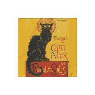 Vintage Black Cat Art Nouveau Chat Noir Steinlen Stone Magnet
