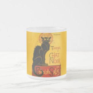 Vintage Black Cat Art Nouveau Chat Noir Steinlen 10 Oz Frosted Glass Coffee Mug
