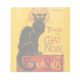 Vintage Black Cat Art Nouveau Chat Noir Steinlen Memo Note Pad