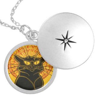 Vintage Black Cat Art Nouveau Chat Noir Steinlen Round Locket Necklace