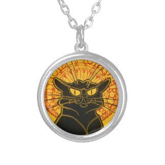 Vintage Black Cat Art Nouveau Chat Noir Steinlen Round Pendant Necklace