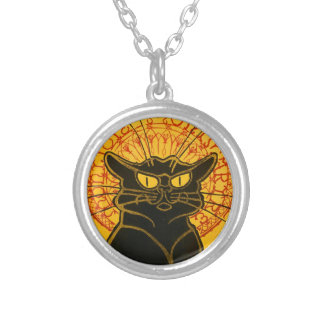 Vintage Black Cat Art Nouveau Chat Noir Steinlen Silver Plated Necklace