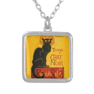 Vintage Black Cat Art Nouveau Chat Noir Steinlen Square Pendant Necklace