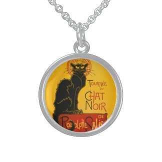 Vintage Black Cat Art Nouveau Chat Noir Steinlen Sterling Silver Necklace