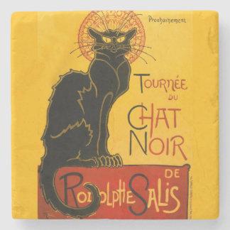 Vintage Black Cat Art Nouveau Chat Noir Steinlen Stone Coaster