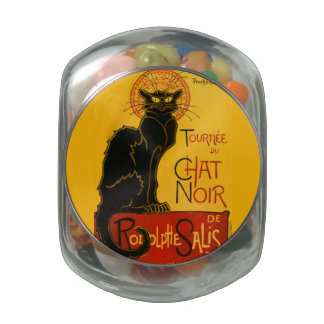Vintage Black Cat Art Nouveau Paris Cute Chat Noir Jelly Belly Candy Jars