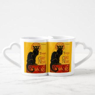 Vintage Black Cat Art Nouveau Paris Cute Chat Noir Couples' Coffee Mug Set
