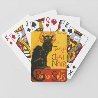 Vintage Black Cat Art Nouveau Paris Cute Chat Noir Playing Cards