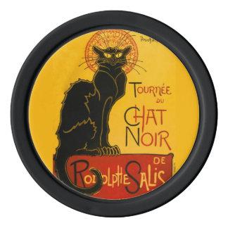 Vintage Black Cat Art Nouveau Paris Cute Chat Noir Poker Chip Set