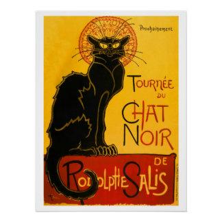 Vintage Black Cat Art Nouveau Paris Cute Chat Noir Poster
