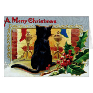 Vintage Black Cat At Christmas Holiday Cards