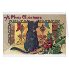 Vintage Black Cat at Fireplace Christmas Card at Zazzle