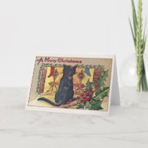 Vintage Black Cat at Fireplace Christmas Card