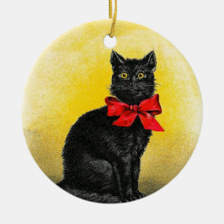 Vintage Black Cat Ceramic Ornament