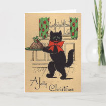 Vintage Black Cat Christmas Greeting Card