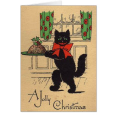 Vintage Black Cat Christmas Greeting Card at Zazzle